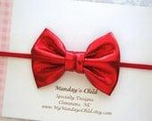 Red Baby Bow Headband, Christmas Baby Headband, Christmas Headband, Red Bow Headband, Baby Headband, Toddler Bow, Baby Bow, Newborn Headband