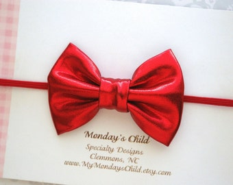 Red Baby Bow, Red Baby Headband, 4th of July Bow, Baby Bow Headband, Baby Headband, Toddler Bow, Toddler Headband, Baby Girl Headband
