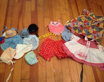 Vintage Doll Clothes Lot Hats Bonnets Dresses Playsuits Coat Hanger