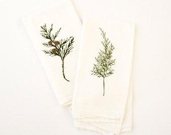 Holiday Cloth Napkin Set : Winter Greens Set of 4 Flour Sack Napkins - Cedar and Juniper