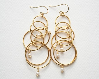 Modern Pearl Earrings, Bridal Jewelry, Pearl Jewelry