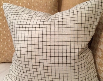 Black and off white linen check pillow