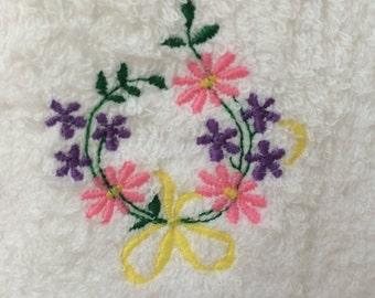 Pink and Purple Flowers Embroidered Hand Towel
