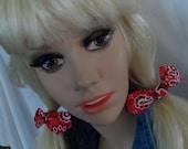 Pony Tail Holder's  ( 2 )  Red Bandana Fabric, Women and Girls ,  Dolly Bow Pony Tail Holder's ,  Rockabilly hair ties