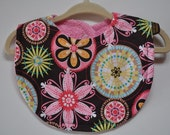 Baby Girl Terry Cloth Snap Bib, Carnival Bloom Brown Pink Flowers