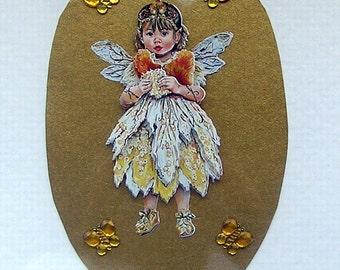 Fairy Hand Crafted 3D Decoupage Card, With Love (1750), Birthday Card, Fairy Card, Sister card, butterfly, 3D Fairy, Gold Fairy, Yellow
