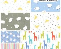 Baby Boy Coordinates FQ Flannel Fabric Bundle Michael Miller - Contains 7 Fat Quarters