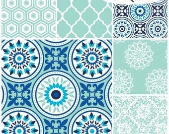 FQ Bundle Blue Mint Medallion Coordinates Flannel Fabric - Contains 6 Fat Quarters