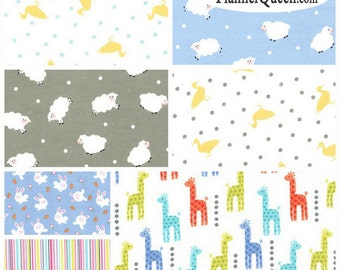 Baby Boy Coordinates FQ Flannel Fabric Bundle Michael Miller - Contains 7 Fat Quarters