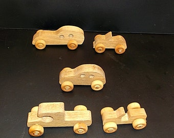 Pkg of 5 Handcrafted Oak  Toy Cars, Pickup  OT-3  non toxic finish