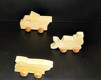 Pkg of 3 Handcrafted Wood Toy Dumb Trucks and Bulldozer OT-4  non toxic finish
