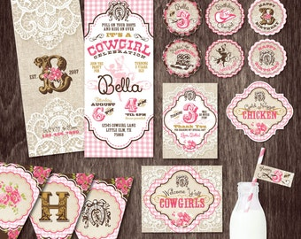 COWGIRL INVITATION Birthday Party PACKAGE Burlap and Lace  --  Personalized Printable Digital files