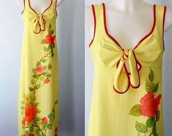 Vintage Yellow Floral Nightgown, Vintage Nightgown, 1970s Nightgown, Vintage Nightgowns, Nightgown