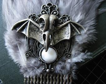 Silver headpiece | bat wings | bird skull | gothic | moon hair