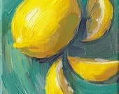 lemon kitchen art oil painting - 5 x 7 - Lemon Swirl