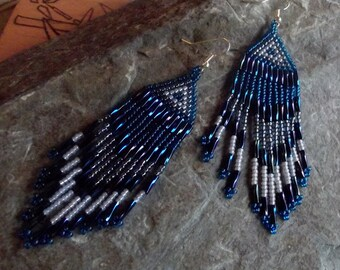 Blue Beaded Native American Style Earrings