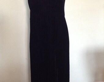 Vintage Black Velvet Empire Waist Dress 1980's