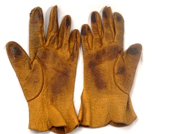Ladies Gloves Tan Pigskin Leather Fownes Vintage 1950s Size 8