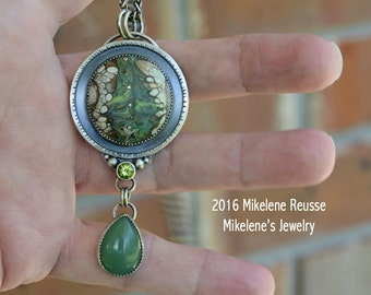 Green Peacock .... sterling silver statement PENDANT  contemporary METALSMITH Artisan jewelry by Mikelene