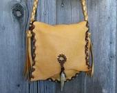 ON SALE Fringed leather purse , Fringed leather crossbody bag, Leather handbag