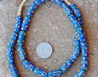 Krobo Beads: Green/Blue/Orange 8x20mm