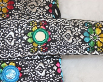 "2 or 10 yards Black White rainbow Indian Sequin Sari Ribbon Jacquard Mirror trim 1.25"" wide"