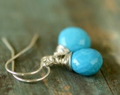 Turquoise earrings, December birthstone jewelry, birthday gift for her, gemstone earrings, wire-wrapped earrings - Sarah