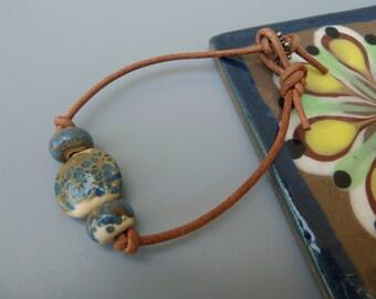 Leather Bracelet, Suede Cord Bracelet, Leather Cord Bracelet, Layering Bracelet, Boho Bracelet, Boho Jewelry, Artisan Lampwork Bracelet