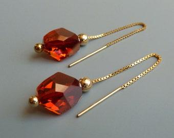 Gold Threader Earrings, Swarovski Red Magma Crystal Earrings, Lightweight Earrings, Linear Earrings, Modern, Minimal, Long Earrings, For Her