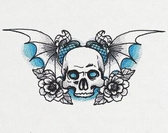 Phantasm - Winged Skull Embroidered Cotton Kitchen Towel, gothic