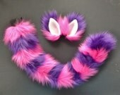 Cheshire Cat Pink and Purple Faux Fur Costume Set Ears Tail Halloween Cosplay Alice in Wonderland