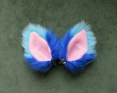 Blue and Pink Faux Fur Ears Fox Cat Dog Monster Halloween Cosplay