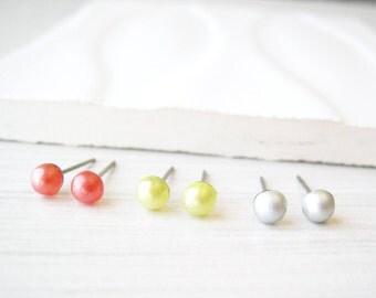 Tiny Nickel Free Post Earrings, Silver Grey, Salmon Pink, Yellow, Jewelry Set, Titanium Small Studs, Vintage Glass, Minimalist Dainty Petite