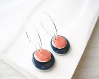 Navy Blue Enamel Earrings, Silver Hoops, Simple Jewelry, Dusty Pink, Mauve, Modern, Geometric, Colorful