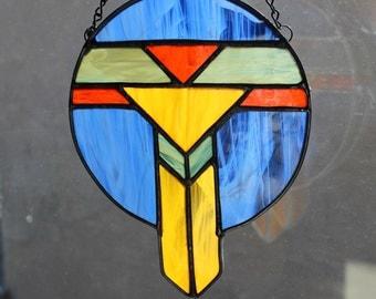 STAINED GLASS SUNCATCHER - Southwest Dreamcatcher, Gift for Him, Southwest Suncatcher, Window Ornament Decoration, Stained Glass Under 25