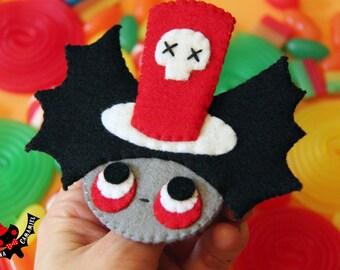 Goth mad hatter felt brooch