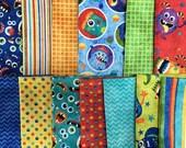 Monster Mischief from Northcott - 13 Fat Quarter Bundle Bright Red, Blue, Green, Yellow Monster Kids Fabric