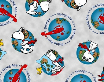 Snoopy Flying Ace from Quilting Treasures - Full or Half Yard Snoopy Globe Toss in Gray