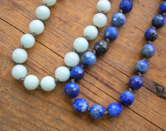 Boho knotted gemstone necklace - Upstart - boho jewelry, amazonite, lapis, blue, fine silver, layering necklace, bohemian beaded necklace