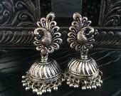 TRIBAL SILVER Jhumka Earrings,Peacock Silver Jhumkas,Kucchi Earrings,Silver dome Chandelier Taneesi Jewelry