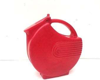 Red Art Deco Plastic Pitcher Burrite Mid Century Marbleized Plastic Pitcher