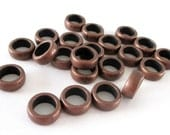 Copper Rondelle Spacers - Copper Round Beads - Ring Spacers - DIY Bracelet Findings - For Leather Cord - 11mm - 24 PCS - Large Hole Beads