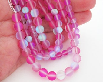 """Pink Round Moonstone - Clear Flashy Fire Matte Pink - Moonstone Glass Beads - Smooth Drilled Beads - 8mm - 16"""" Strand - DIY Jewelry Making"""