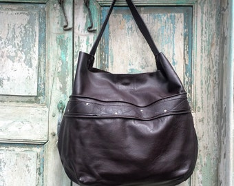 Handmade Black Italian Leather Hobo
