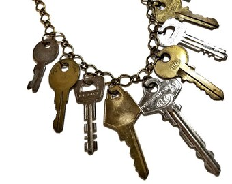 Repurposed Vintage Key Charm Necklace Statement, Keys Necklace, Charm Necklace, Sreampunk, Found Object Jewelry