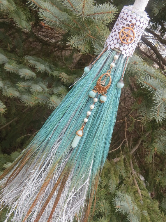 Witch S Protection Broom In Seafoam Green And Copper