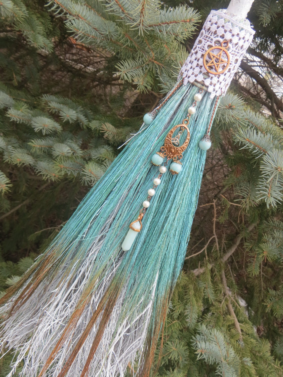 Witch's Protection Broom in Seafoam Green and Copper