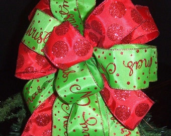 Red Dot Bow Topper, Christmas Tree Topper Bow, Wreath Bow, Christmas Topper, Banister Bow
