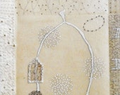 Mixed Media Drawing with Pearls / Notes From The Ancestors no. 9