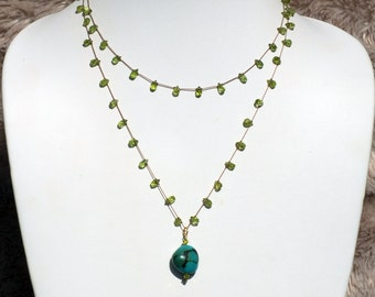 Faceted Peridot Briolette Necklace with Turquoise Pendant- PN 105
